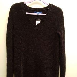NWT Apt.9 Black Vneck Chenille Sweater  M